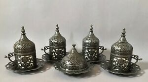 Turkish Coffee Gift Set for 4 - Coffee Cups with Sugar Bowl, Dark Silver Colour