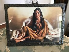 Antique Small Print of Indian Woman in Hammered Metal Frame Mirror Back