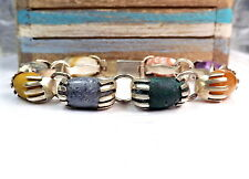 """Bold TAXCO Sterling Silver 925 Old Mexican Natural Stone 7.5"""" Link Bracelet"""