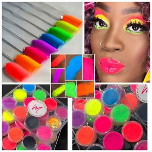 Bright Neon Matte Glitter Eyeshadow Shadow Pigment Palette Nail Art Powder