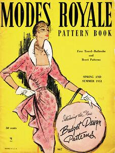 1950s Rare Vintage Modes Royale Summer 1951 Pattern Catalog 44pg Ebook on CD