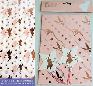 DISNEY TINKER BELL 2 Sheets GIFT WRAP & 2 TAGS or 5 ROSE GOLD White TISSUE PAPER