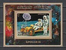 / Ajman, Mi cat. 868, BL279 B. Apollo 15, Moon Buggy IMPERF s/sheet.