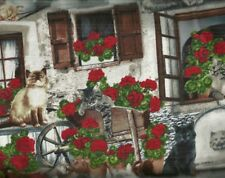 Front Porch  geranium red flowers and cats Timeless Treasures fabric