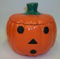 Spooky Halloween Pumpkin Jack O Lantern Ceramic Candy Cookie Jar - Mint in Box