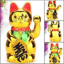 Golden Chinese Fortune Wealth Lucky Money Waving Cat Powered by AA Battery