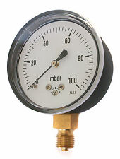 Very Low Pressure Gauge for air or gas 63mm 0/100 mBar 1/4 BSP Connection