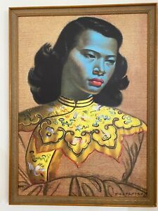 Tretchikoff Print in vintage frame Chinese Girl Blue Lady *reproduction*