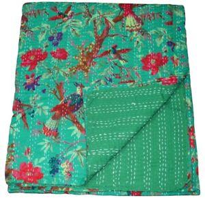 Indian Handmade Kantha Quilt Throw Bedspread Bird Print Bedding Queen pureCotton