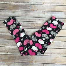 Pink Hearts Kitty Cat Paws Women's Leggings OS One Size 2-12 Super Soft