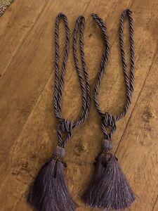 Large Purple tassel curtain tie backs With Jewels
