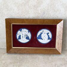 New listing Rare Vintage Wedgwood Anna Zinkeisen Blue Jasperware Adam & Eve Plaque Framed