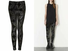 Topshop Girls Ladies Black Glitter Palm Ankle Leggings Size 4 £28 Free P&P AH