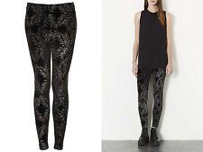 Topshop Ladies Black Glitter Palm Ankle Leggings Size 6 £28 BNWT Free P&P (AH)