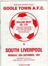 GOOLE TOWN  V  SOUTH LIVERPOOL 28/12/1987 northern premier league PROGRAMME