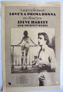 STEVE HARLEY 1976 Poster Ad LOVE'S A PRIMA DONNA cockney rebel