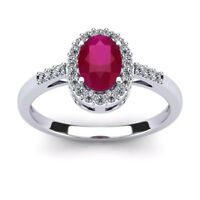 14K WHITE GOLD 1.12CT RUBY AND DIAMOND HALO RING SIZE- 8, 9