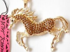 Betsey Johnson  Rhinestone Brown Horse Pendant Necklace #F09
