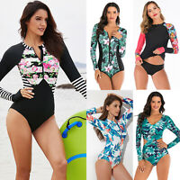 Women's Long Sleeve UV Protection Rash Guard One-piece Swimsuit Surfing Wetsuit
