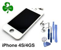 For Apple iPhone 4S LCD Touch Screen Display Digitizer Glass White With Tools