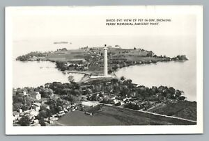 Birds Eye PUT-IN-BAY Ohio RPPC Rare Vintage Photo—Ken & Greta Jeweler Pub 50s