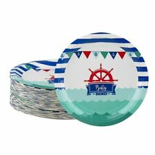 80-Pack Disposable Paper Plates, Nautical Themed Baby Shower Party Supplies, 9