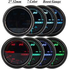 2'' 52mm 7 Color LED Car Turbo Boost 30PSI Pressure Vacuum Gauge Meter 12V Black