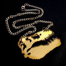 DINOSAUR Gold Mirror Large Statement Necklace ~ Skull ~ TRex Skeleton Jurassic