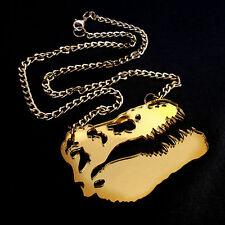 DINOSAUR Gold Mirror Large Statement Necklace~TRex Skeleton Pendant~Fossil~Skull