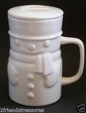Snowman Mug Two Piece Food Network White Stoneware Tall Coffee Cup
