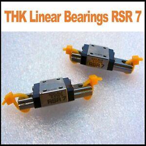 Miniature THK Linear Bearings, type RSR 7. Rail length 40mm Pack of 2