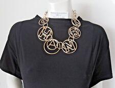$2000 CHANEL Gold Metal Hula Loop Round Circle Runway Link CC Charm Necklace NWT