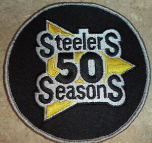 PITTSBURGH STEELERS 1982 50TH ANNIVERSARY PATCH  UNIFORM BLACK PATCH