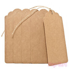 20 x Kraft Paper Gift Tags Blank Brown Scallop Wedding Luggage Labels + String
