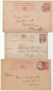 c.1897/1920 3 DIFF BARBADOS POSTMARKS ON POSTAL STATIONERY CARDS UK USA & LOCAL
