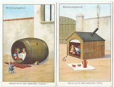 2 x AK SCHERZ um 1914 Wohnungsnot Karikatur   ( 1869