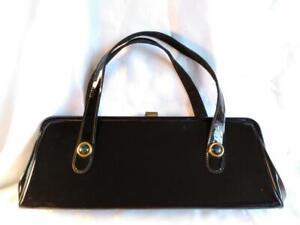 Vintage Shiny Black Patent Leather Handbag ~ RETRO!