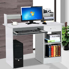 Computer Desk Hutch with Pull-Out Keyboard Laptop Table Office Furniture White