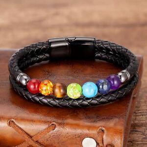 Mens Chakra Leather Healing Stone Bracelet