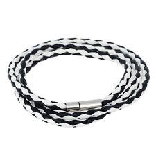 Pulsera De Cuero o Collar Acero Trenzado Cierre Triple Envolvente A141