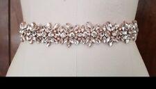 Bridal Wedding Bridesmaid Dress Sash Rose Gold Crystal Rhinestone Appliqué Belt