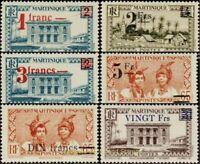 EBS Martinique 1945 Overprints - Timbres de 1933-39 Surchargés MAR 220-225 MNH*