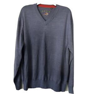 Orvis Men's Size XL Long Sleeve Blue 100% Merino Wool V-Neck Sweater