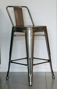 Tolix Style Industrial Barstool Steel Patina Metal with backrest 66cm high