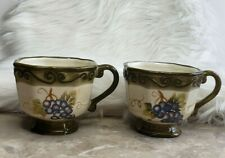 MERLOT (2) Mugs Hand Painted Collection Grapes Mug Green by Tabletops Unlimited