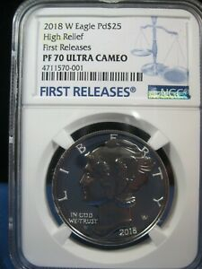 2018-W  EAGLE $25 PALLADIUM  HIGH RELIEF FIRST RELEASES PF 70 ULTRA CAMEO