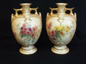 Antique pair of Royal Worcester handpainted blush Ivory vases,c1899
