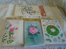 Vintage Party Invitations Hallmark Christmas Roses american greetings 4 sealed