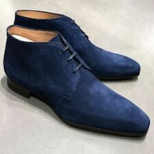 New Handmade Blue Suede Chukka Boots, Men's Dress Suede Ankle Boots