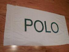 Vintage RALPH LAUREN POLO BEACH TOWEL WHITE w/ GREEN POLO LOGO Huge 68 x 36
